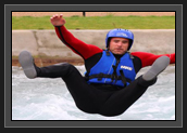 Image of Ryan Finishing off the Rafting Experience by Flying out of the Raft