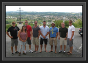 Image of Canadian Mens Kayak Team Memebers and Christine Bain in France