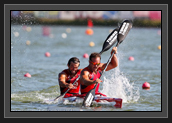 Image of Ryan and Hugues Paddling Down the Course During the K2 200m at the 2011 World Championships