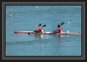 Image of Ryan and Hugues Paddling Around Before the Start of the K2 200m at the 2011 World Championships