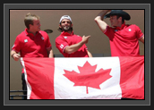 Image of Connor, Hugues and Ryan Hanging Canadian Flag