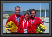 Image of Ryan, Christine Bain and Hugues After the Bronze Medal in Men's K2 200m at World Cup 1 in Poland