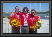 Image of Ryan, Coach Fred Jobin and Hugues After the Bronze Medal in Men's K2 200m at World Cup 1 in Poland