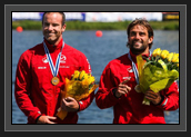 Image of Ryan and Hugues on Podium With Bronze Medals After K2 200m Final at World Cup 1 in Poznan, Poland