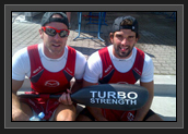 Image of Ryan and Hugues Resting With Turbo Paddles After the Bronze Medal in Men's K2 200m at World Cup 1 in Poland