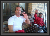 Image of Ryan and Hugues Waving to Family at Home Watching on TV After the Bronze Medal in Men's K2 200m at World Cup 1 in Poland