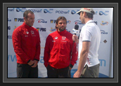 Image of Ryan and Hugues Post-Race Interview After the Bronze Medal in Men's K2 200m at World Cup 1 in Poland