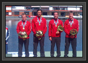 Image of Ryan and K1 200m Relay Team on Podium With Bronze Medals at World Cup 2 in Duisburg, Germany