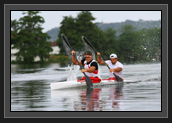 Image of Ryan and Hugues paddling in K2 in France before Olympics