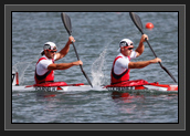 Image of WINDSOR, ENGLAND - AUGUST 06: (L-R) Hugues Fournel and Ryan Cochrane of Canada compete in the Men's Kayak Double (K2) 1000m Canoe Sprint heats on Day 10 of the London 2012 Olympic Games at Eton Dorney on August 6, 2012 in Windsor.(Photo by Jamie Squire/Getty Images)