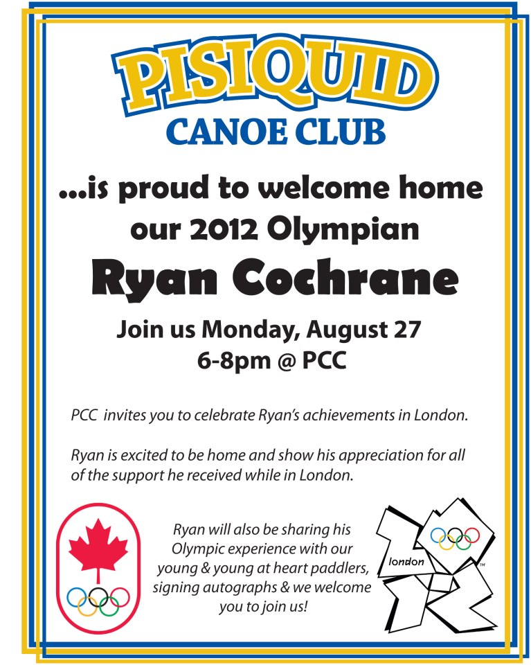 Meet and Greet with Ryan will be from 6-8 PM Aug 27 at Pisiquid Aquatic Club