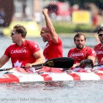 Ryan, Mark, Hugues and Etienne in K4 200m celebrating after crossing the line in 1st place (Photo: Balint Vekassy)