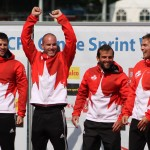 Ryan, Mark, Hugues and Etienne on Podium after winning K4 200m (Photo: Lizzy Bates)