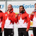 Ryan, Mark, Hugues and Etienne on Podium with Gold Medals after winning K4 200m (Photo: Lizzy Bates)