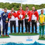 Ryan, Mark, Hugues and Etienne with medals on podium for winning the K4 200m (Photo: Balint Vekassy)
