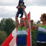 Ryan Holding son Logan on Podium after Winning Gold in K2 200m at National Championships with Pierre Luc Poulin (Photo: Pascale Toupin)