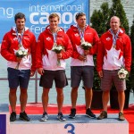 Ryan, Mark, Étienne and Alex Scott with medals from K4 200m (Photo: Balint Vekassy)