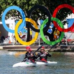 Ryan and Hughes in the K2 200m with Olympic rings in background (Photo: Balint Vekassy)