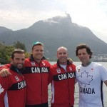 200m Men's Olympic Team of Hughes, Mark, Ryan and Coach Fred