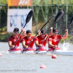Ryan, Marshall, Maxence and Pierre-Luc during the Mens K4 500m at the World Cups (Photo: Balint Vekassy)